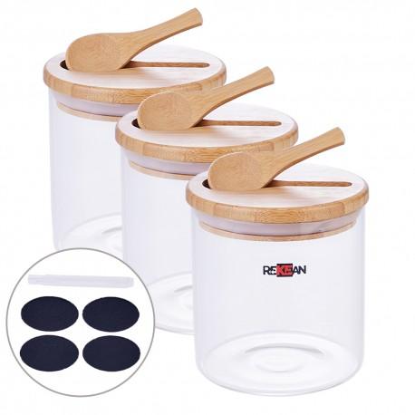 Rekean -Bocaux Verre hermetique empilable avec Couvercle Bambou, Silicone Alimentaire et cuillère - Set de 3 Pots de 500 ML