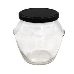 Bocal en Verre Orcio pour Conservation - Lot de 6 Bocaux - Couvercle à vis Noir 580 ml